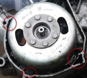 Magneettoa on saatu pois ilman ulosvetäjää ja lohkossa vaurioita.