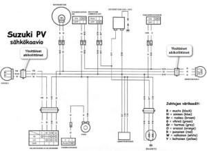 """Suzuki PV sähkökaavio 6V versio """"PeeVeli"""" (modifioitu johtosarjasta Moposport 36610-17270-1)"""