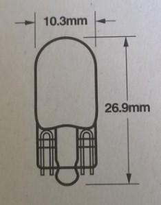 Lasikantapolttimon koko tyyppiä T10 W2,1x9,5d